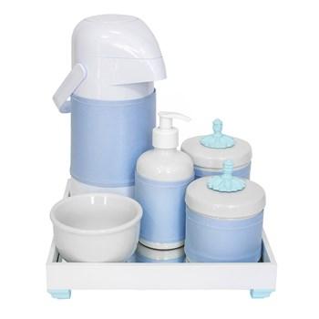 Kit Higiene Espelho Completo Porcelanas, Garrafa e Capa Provençal Azul