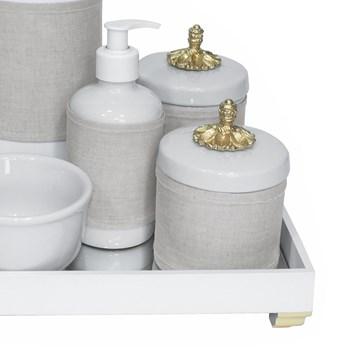 Kit Higiene Espelho Completo Porcelanas, Garrafa e Capa Provençal Dourado