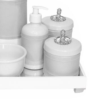 Kit Higiene Espelho Completo Porcelanas, Garrafa e Capa Provençal Prata