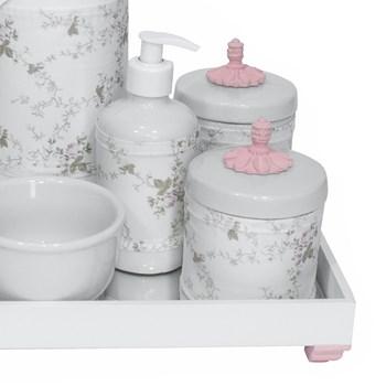 Kit Higiene Espelho Completo Porcelanas, Garrafa e Capa Provençal Rosa