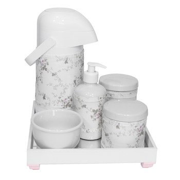 Kit Higiene Espelho Completo Porcelanas, Garrafa e Capa Rosa