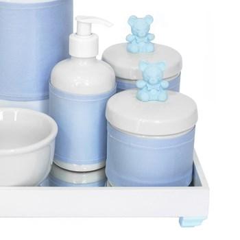Kit Higiene Espelho Completo Porcelanas, Garrafa e Capa Ursinho Azul