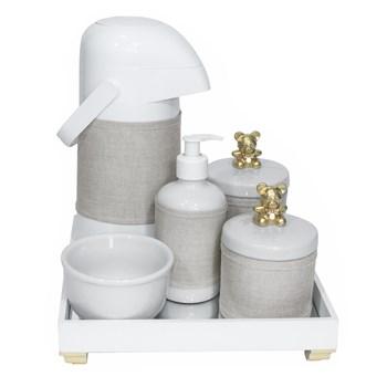 Kit Higiene Espelho Completo Porcelanas, Garrafa e Capa Ursinho Dourado
