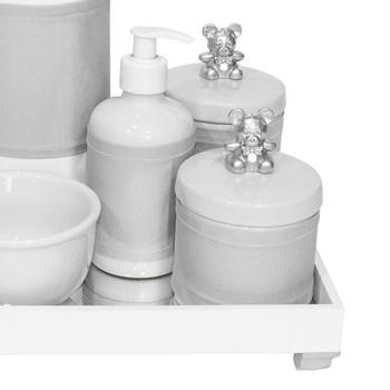 Kit Higiene Espelho Completo Porcelanas, Garrafa e Capa Ursinho Prata