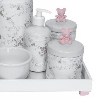 Kit Higiene Espelho Completo Porcelanas, Garrafa e Capa Ursinho Rosa