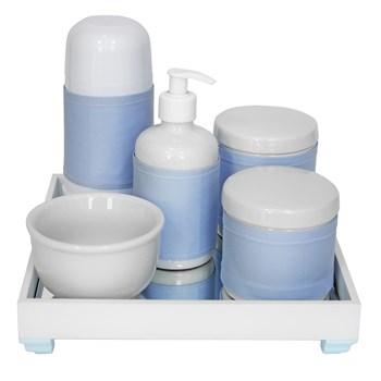 Kit Higiene Espelho Completo Porcelanas, Garrafa Pequena e Capa Azul