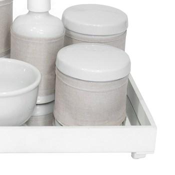 Kit Higiene Espelho Completo Porcelanas, Garrafa Pequena e Capa Branco