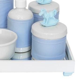 Kit Higiene Espelho Completo Porcelanas, Garrafa Pequena e Capa Cavalinho Azul
