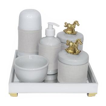 Kit Higiene Espelho Completo Porcelanas, Garrafa Pequena e Capa Cavalinho Dourado