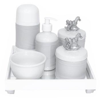 Kit Higiene Espelho Completo Porcelanas, Garrafa Pequena e Capa Cavalinho Prata