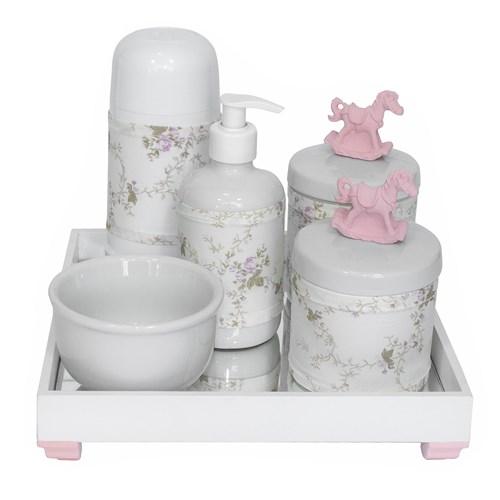 Kit Higiene Espelho Completo Porcelanas, Garrafa Pequena e Capa Cavalinho Rosa