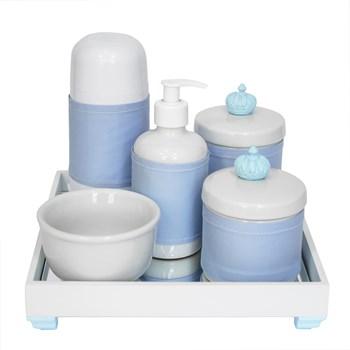 Kit Higiene Espelho Completo Porcelanas, Garrafa Pequena e Capa Coroa Azul
