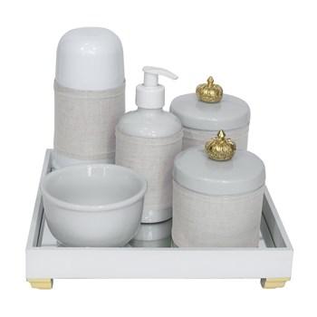 Kit Higiene Espelho Completo Porcelanas, Garrafa Pequena e Capa Coroa Dourado