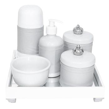 Kit Higiene Espelho Completo Porcelanas, Garrafa Pequena e Capa Coroa Prata
