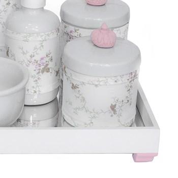 Kit Higiene Espelho Completo Porcelanas, Garrafa Pequena e Capa Coroa Rosa