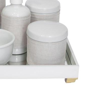Kit Higiene Espelho Completo Porcelanas, Garrafa Pequena e Capa Dourado