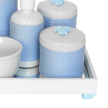 Kit Higiene Espelho Completo Porcelanas, Garrafa Pequena e Capa Flor de Liz Azul