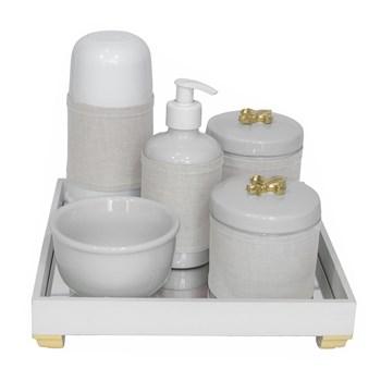 Kit Higiene Espelho Completo Porcelanas, Garrafa Pequena e Capa Flor de Liz Dourado