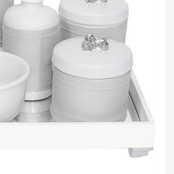 Kit Higiene Espelho Completo Porcelanas, Garrafa Pequena e Capa Flor de Liz Prata