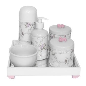 Kit Higiene Espelho Completo Porcelanas, Garrafa Pequena e Capa Flor de Liz Rosa