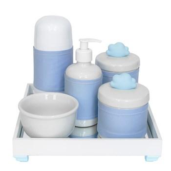 Kit Higiene Espelho Completo Porcelanas, Garrafa Pequena e Capa Nuvem Azul