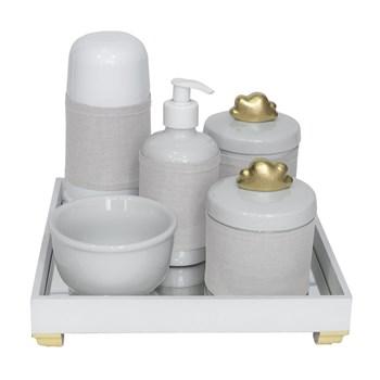 Kit Higiene Espelho Completo Porcelanas, Garrafa Pequena e Capa Nuvem Dourado