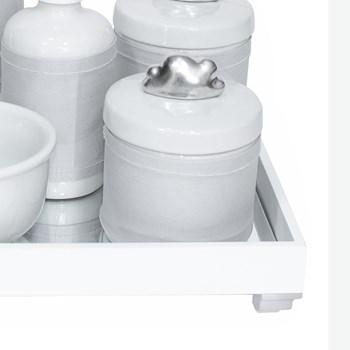 Kit Higiene Espelho Completo Porcelanas, Garrafa Pequena e Capa Nuvem Prata