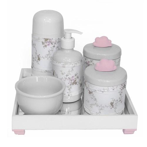 Kit Higiene Espelho Completo Porcelanas, Garrafa Pequena e Capa Nuvem Rosa