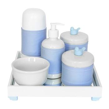 Kit Higiene Espelho Completo Porcelanas, Garrafa Pequena e Capa Passarinho Azul