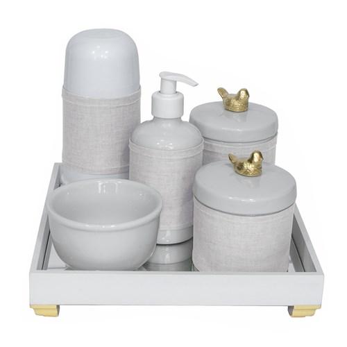 Kit Higiene Espelho Completo Porcelanas, Garrafa Pequena e Capa Passarinho Dourado