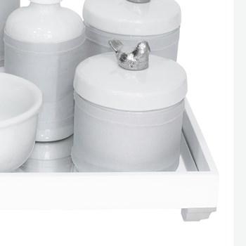 Kit Higiene Espelho Completo Porcelanas, Garrafa Pequena e Capa Passarinho Prata