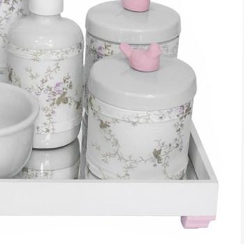 Kit Higiene Espelho Completo Porcelanas, Garrafa Pequena e Capa Passarinho Rosa