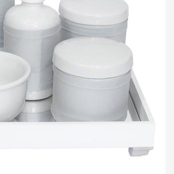 Kit Higiene Espelho Completo Porcelanas, Garrafa Pequena e Capa Prata