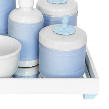 Kit Higiene Espelho Completo Porcelanas, Garrafa Pequena e Capa Provençal Azul