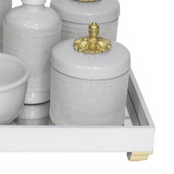 Kit Higiene Espelho Completo Porcelanas, Garrafa Pequena e Capa Provençal Dourado