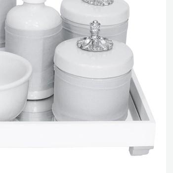 Kit Higiene Espelho Completo Porcelanas, Garrafa Pequena e Capa Provençal Prata