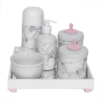 Kit Higiene Espelho Completo Porcelanas, Garrafa Pequena e Capa Provençal Rosa