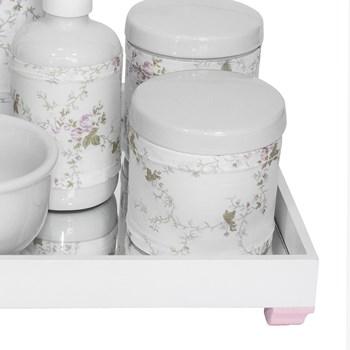 Kit Higiene Espelho Completo Porcelanas, Garrafa Pequena e Capa Rosa