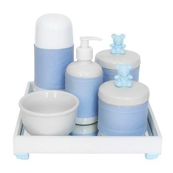 Kit Higiene Espelho Completo Porcelanas, Garrafa Pequena e Capa Ursinho Azul