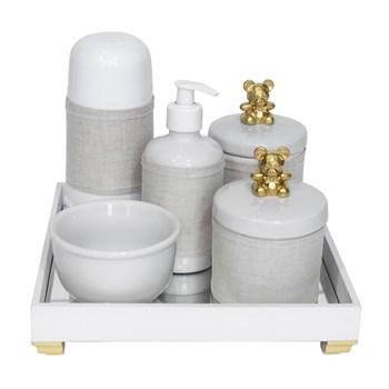 Kit Higiene Espelho Completo Porcelanas, Garrafa Pequena e Capa Ursinho Dourado