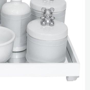 Kit Higiene Espelho Completo Porcelanas, Garrafa Pequena e Capa Ursinho Prata