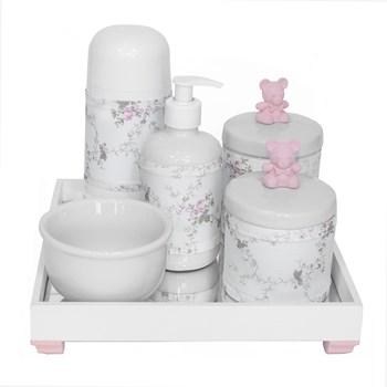 Kit Higiene Espelho Completo Porcelanas, Garrafa Pequena e Capa Ursinho Rosa
