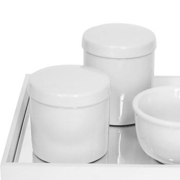 Kit Higiene Espelho Potes e Molhadeira Branco
