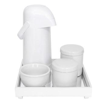 Kit Higiene Espelho Potes, Garrafa e Molhadeira Branco