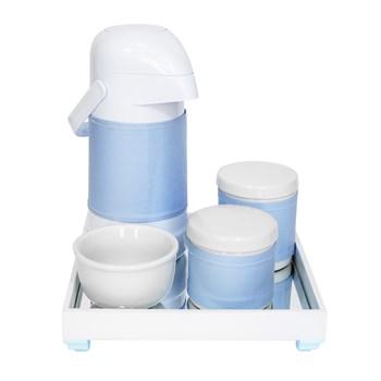 Kit Higiene Espelho Potes, Garrafa, Molhadeira e Capa Azul