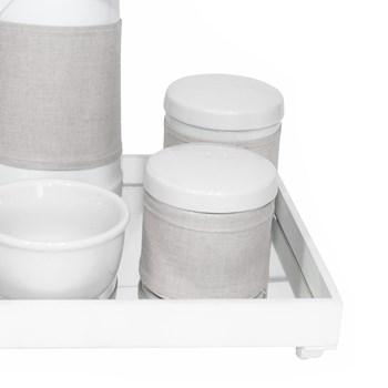 Kit Higiene Espelho Potes, Garrafa, Molhadeira e Capa Branco