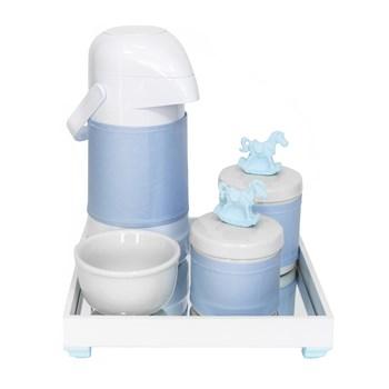 Kit Higiene Espelho Potes, Garrafa, Molhadeira e Capa Cavalinho Azul