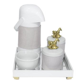 Kit Higiene Espelho Potes, Garrafa, Molhadeira e Capa Cavalinho Dourado