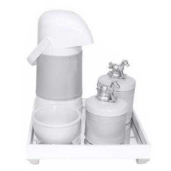 Kit Higiene Espelho Potes, Garrafa, Molhadeira e Capa Cavalinho Prata