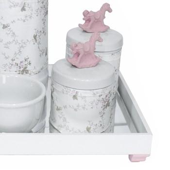 Kit Higiene Espelho Potes, Garrafa, Molhadeira e Capa Cavalinho Rosa